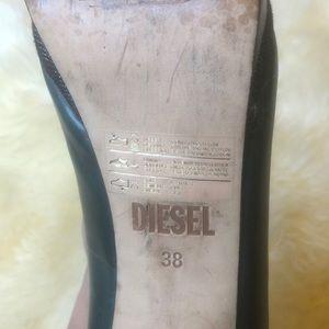 Diesel Shoes - Hunter Green Leather Diesel Platform Heels